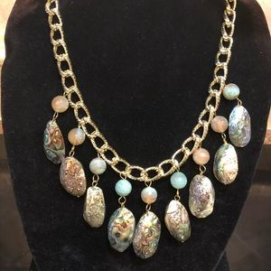 Genuine Abalone, Jade, and Gold Chain Necklace